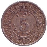 Монета 5 сентаво. 1937 год, Мексика.