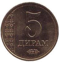 Монета 5 дирамов. 2017 год, Таджикистан.