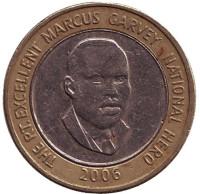 Маркус Гарви - национальный герой. Монета 20 долларов. 2006 год, Ямайка.