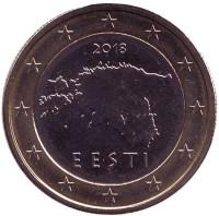 Монета 1 евро. 2018 год, Эстония.