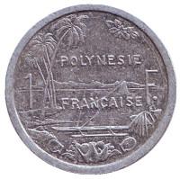 Монета 1 франк. 1991 год, Французская Полинезия.