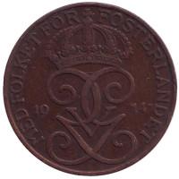 Монета 5 эре. 1914 год, Швеция.