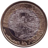 Долина реки Порвоонйоки и старый Порвоо. Монета 5 евро. 2018 год, Финляндия.