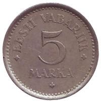 Монета 5 марок. 1922 год, Эстония.