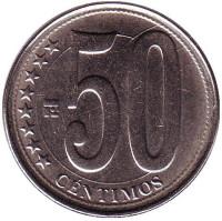 Монета 50 сентимо. 2012 год, Венесуэла.