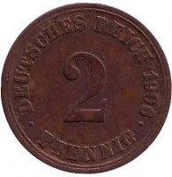 Монета 2 пфеннига. 1906 год (A), Германская империя.