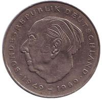 Теодор Хойс. Монета 2 марки. 1985 год (J), ФРГ. Из обращения.