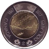 150 лет Конфедерации Канада. Полярное сияние. Монета 2 доллара. 2017 год, Канада.
