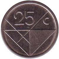 Монета 25 центов. 2014 год, Аруба.