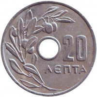 Монета 20 лепт. 1959 год, Греция.