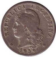 Монета 20 сентаво. 1939 год, Аргентина.