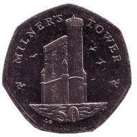 Башня Милнера. Монета 50 пенсов. 2015 год, Остров Мэн. (AС)