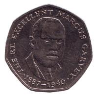 Маркус Гарви - национальный герой. Монета 25 центов. 1992 год, Ямайка.