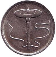 Волчок. Монета 5 сен. 2003 год, Малайзия.