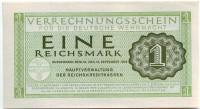 Банкнота 1 рейхсмарка. 1944 год, Третий Рейх. (Вермахт)