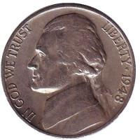 Джефферсон. Монтичелло. Монета 5 центов. 1948 год (S), США.