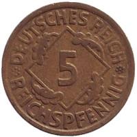 Монета 5 рейхспфеннигов. 1924 год (А), Веймарская республика.
