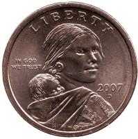 """Сакагавея (Парящий орел), серия """"Коренные американцы"""". 1 доллар, 2007 год (D), США."""
