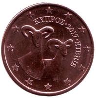 Монета 5 центов. 2017 год, Кипр.