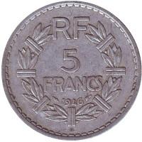 5 франков. 1946 (В) год, Франция.