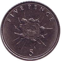 Цветок. Монета 5 пенсов. 2016 год, Гибралтар. UNC.