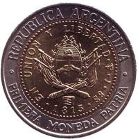 Монета 1 песо. 1994 год, Аргентина. UNC.