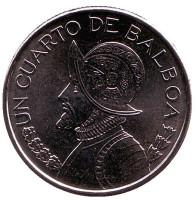 Монета 1/4 бальбоа. 2017 год, Панама.