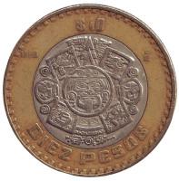 Тонатиу. Ацтекский солнечный камень. Орел. Монета 10 песо. 1999 год, Мексика. Из обращения.