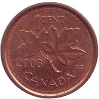 Монета 1 цент. 2003 год, Канада. (Новый тип, Магнитная)