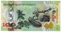 35 лет банку. Банкнота 100 кин. 2008 год, Папуа - Новая Гвинея. Юбилейная!