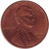 Монета 1 цент (D), США, 2010 год.