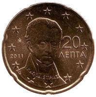 Монета 20 центов. 2011 год, Греция.