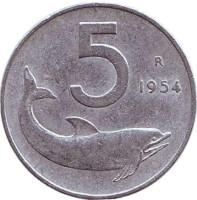 Дельфин. Судовой руль. Монета 5 лир. 1954 год, Италия.