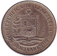 Монета 2 боливара. 1990 год, Венесуэла.