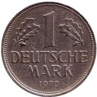 Монета 1 марка. 1970 год (F), ФРГ.