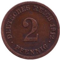 Монета 2 пфеннига. 1912 год (G), Германская империя.