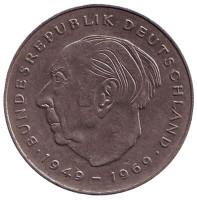 Теодор Хойс. Монета 2 марки. 1987 год (D), ФРГ. Из обращения.