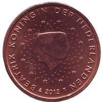 Монета 1 цент. 2012 год, Нидерланды.