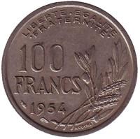 100 франков. 1954 год, Франция.