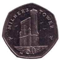 Башня Милнера. Монета 50 пенсов. 2015 год, Остров Мэн. (BС)
