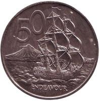 """Парусник """"Endeavour"""". Монета 50 центов, 1974 год, Новая Зеландия."""