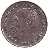 Конрад Аденауэр. Монета 2 марки. 1977 год (G), ФРГ. Из обращения.