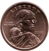 """Сакагавея (Парящий орел), серия """"Коренные американцы"""". 1 доллар, 2008 год (P), США."""