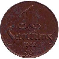 Монета 1 сантим. 1932 год, Латвия.