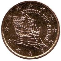 Монета 10 центов. 2017 год, Кипр.