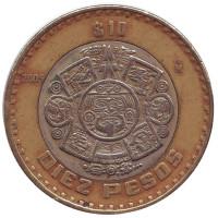 Тонатиу. Ацтекский солнечный камень. Орел. Монета 10 песо. 2005 год, Мексика.