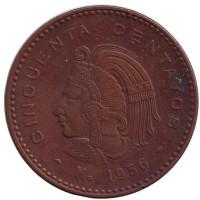 Индеец. Монета 50 сентаво. 1956 год, Мексика.