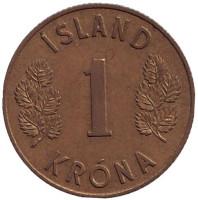 Монета 1 крона. 1961 год, Исландия.
