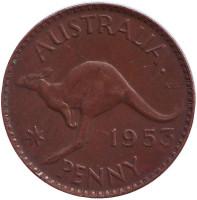 """Кенгуру. Монета 1 пенни. 1953 год, Австралия. (Точка после """"AUSTRALIA"""")"""