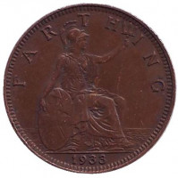Монета 1 фартинг. 1933 год, Великобритания.